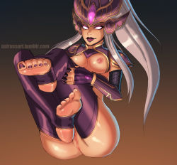 1girl barefoot bottomless feet fingerless_gloves glowing_eyes helmet league_of_legends lipstick long_hair nail_polish ponytail purple_legwear pussy sitting soles syndra toeless_legwear toes topless uncensored white_eyes white_hair