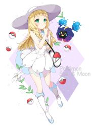 1girl absurdres bag bangs bare_arms bare_shoulders blonde_hair blunt_bangs blush boots braid breasts chitetan closed_mouth copyright_name cosmog diamond_(shape) dress english eyelashes flower frown full_body green_eyes hat highres lillie_(pokemon) lily_(flower) long_hair looking_at_viewer looking_up namesake own_hands_together poke_ball pokemon pokemon_(creature) pokemon_(game) pokemon_sm see-through sleeveless sleeveless_dress small_breasts sparkle sun_hat twin_braids white_background white_boots white_dress white_flower white_hat