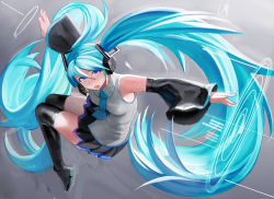 1girl black_skirt blue_hair boots detached_sleeves hatsune_miku headset highres long_hair mamushi necktie open_mouth outstretched_arms pleated_skirt purple_eyes skirt solo spread_arms thigh_boots thighhighs twintails very_long_hair vocaloid wide_sleeves wing_collar