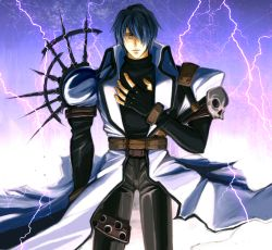 1boy belt blue_hair coat electricity fingerless_gloves gloves hair_over_one_eye hand_on_own_chest leather leather_pants legato_bluesummers male pants short_hair skull slit_pupil solo soot_(susuoke) spikes trigun turtleneck white_coat yellow_eyes