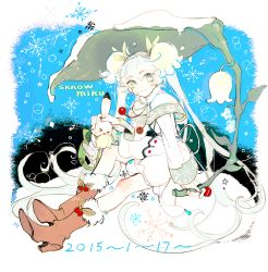 >_< 1girl 2015 ahoge aqua_eyes boots capelet character_name dated flower hand_on_another's_head hatsune_miku headset highres holding leaf lily_of_the_valley long_hair long_sleeves looking_at_viewer sitting snow snowflakes solo twintails very_long_hair vocaloid white_hair xia yuki_miku