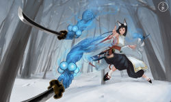 1girl animal_ears black_hair breasts detached_sleeves forest hcho highres hip_vent japanese_clothes long_hair magic nature pixiv_fantasia red_eyes sheath sideboob smile snow solo sword tabi tree weapon wide_sleeves winter