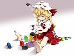 1girl ascot asu_tora blonde_hair commentary crystal flandre_scarlet hat mob_cap red_eyes short_sleeves side_ponytail solo touhou wings