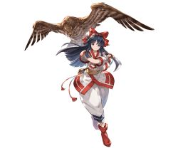1girl ainu_clothes bird black_hair blue_eyes bow feathers fingerless_gloves full_body gloves granblue_fantasy hair_bow hair_ribbon hairband hawk holding holding_weapon japanese_clothes long_hair looking_at_viewer mamahaha minaba_hideo nakoruru official_art red_bow ribbon samurai_spirits shoes short_sleeves smile solo sword transparent_background weapon