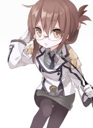 1girl bespectacled blazer brown_eyes brown_hair cosplay epaulettes folded_ponytail glasses gloves inazuma_(kantai_collection) kantai_collection katori_(kantai_collection) katori_(kantai_collection)_(cosplay) long_hair necktie orqz pantyhose pointer riding_crop skirt uniform