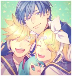 1girl 2boys :d ascot blue_eyes blue_hair bow character_doll copyright_name copyright_request eyebrows eyebrows_visible_through_hair eyes_closed hair_bow hair_ornament hairclip hatsune_miku headset hr_jam kagamine_len kagamine_rin kaito looking_at_viewer multiple_boys open_mouth smile upper_body v vocaloid watermark