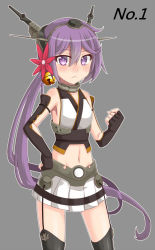 1girl :< akebono_(kantai_collection) bell blush clenched_hand cosplay elbow_gloves fingerless_gloves flower gloves hair_bell hair_flower hair_ornament hand_on_hip kantai_collection kusosaika long_hair midriff miniskirt nagato_(kantai_collection) nagato_(kantai_collection)_(cosplay) navel purple_eyes purple_hair side_ponytail skirt sleeveless solo thighhighs yuki_to_hana