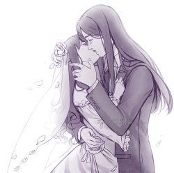 1boy 1girl alexielart bridal_veil bride dress fate/stay_night fate/zero fate_(series) formal hetero kiss lord_el-melloi_ii monochrome suit tohsaka_rin veil watermark waver_velvet web_address wedding wedding_dress