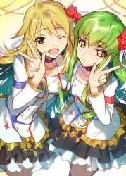 2girls ;d blonde_hair blush c.c. code_geass color_connection couple creayus green_eyes green_hair hoshii_miki idolmaster long_hair looking_at_viewer multiple_girls one_eye_closed open_mouth smile v yellow_eyes