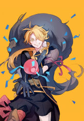 1boy asymmetrical_gloves black_gloves blonde_hair gloves grin hair_over_one_eye istkeinmal long_hair looking_at_viewer male_focus party_popper shishiou simple_background smile solo touken_ranbu yellow_background yellow_eyes