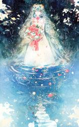 1girl aqua_hair bouquet dress elbow_gloves eyes_closed flower gloves hatsune_miku holding in_water long_hair petals rei_(456789io) ripples solo standing traditional_media veil very_long_hair vocaloid watercolor_(medium) wedding_dress white_dress