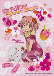 :3 drink drinking_straw flower food fruit hair_flower hair_ornament highres kaname_madoka kyubey mahou_shoujo_madoka_magica pink_eyes pink_hair red_eyes smile tagme tropical tropical_drink twintails