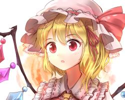 1girl :o ascot blonde_hair blush crystal face flandre_scarlet frilled_shirt_collar frills hair_ribbon hat hat_ribbon minust mob_cap open_mouth portrait red_eyes red_ribbon ribbon side_ponytail solo touhou wings