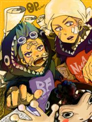 blue_hair brothers franky frog goggles iceburg male_focus one_piece purple_hair sano siblings yokozuna younger