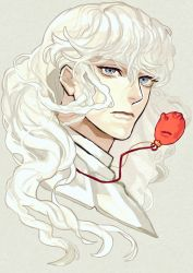 1boy 90s berserk blue_eyes eyebrows eyebrows_visible_through_hair eyelashes face frown griffith highres jewelry long_hair male_focus neck pendant solo supocon white_hair