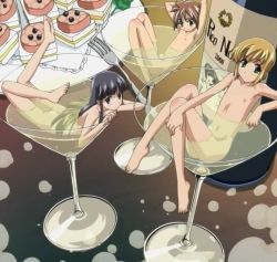 3boys androgynous barefoot bathing black_hair blonde_hair boku_no_pico brown_hair champagne chico coco_(boku_no_pico) feet fork long_hair looking_at_viewer martini_glass multiple_boys navel nude pico screencap short_hair shota stitched trap wine