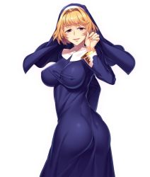 1girl ass bad_anatomy blonde_hair breasts character_request cowboy_shot detached_sleeves dress erect_nipples eyebrows_visible_through_hair habit hair_intakes highres large_breasts lilith-soft long_dress long_sleeves looking_at_viewer looking_back nun purple_eyes short_hair simple_background smile solo turtleneck twisted_torso white_background