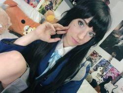 akiyama_mio black_hair cosplay k-on! lana_rain photo school_uniform