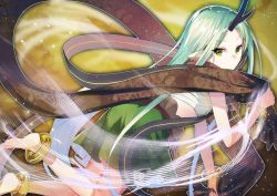 1girl anklet closed_mouth eyebrows_visible_through_hair forehead from_side fuotchan green_eyes green_hair green_skirt hagoromo holding horn jewelry long_hair looking_at_viewer looking_back original pointy_ears sarashi shawl skirt solo very_long_hair