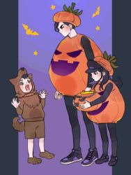 1girl 2boys animal_costume bat black_hair black_legwear blue_eyes brother_and_sister bucket claw_pose collar fangs full_body halloween hat jack-o'-lantern jojo_no_kimyou_na_bouken jojolion kira_yoshikage_(jojolion) kuujou_josefumi long_hair multiple_boys nijimura_kyou pumpkin_costume pumpkin_hat reammara shoes short_hair siblings sneakers standing star wolf_costume younger