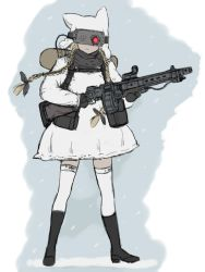 1girl animal_hat backpack bag black_boots blonde_hair boots braid coh dress gun hair_ribbon hat holding long_hair long_sleeves mars_expedition military military_uniform ribbon simple_background snow snowing solo soviet standing thighhighs twin_braids uniform weapon weapon_request white_background white_dress white_legwear zettai_ryouiki