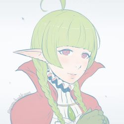1girl ahoge artist_name braid cape fire_emblem fire_emblem:_kakusei flat_color frilled_dress gloves green_hair hands_together koyorin looking_at_viewer nn_(fire_emblem) pale_color pointy_ears portrait red_eyes simple_background sketch solo twin_braids watermark web_address