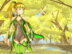 1girl breasts dragon_nest dress elf elf_girl expose female forest gold_hair green_eyes leotard liya nature outdoors plant pussy sky solo