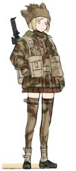 1girl animal_hat blonde_hair blue_eyes british brown_gloves brown_skirt camouflage camouflage_legwear coh full_body gloves gun hand_on_hip hat long_sleeves mars_expedition military military_uniform miniskirt pleated_skirt short_hair simple_background skirt solo standing thighhighs uniform weapon weapon_request white_background zettai_ryouiki