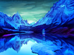 1girl absurdres blue blue_hair blue_shoes bow cirno cloud cloudy_sky from_behind frozen_lake hair_bow hands_on_hips highres ice ice_wings looking_afar morning mountain reflection scenery shoes short_hair sky solo standing sunrise suns_(nemure) tennuru touhou white_legwear wings
