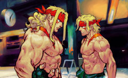 2boys abs blonde_hair blue_eyes dual_persona faceoff fingerless_gloves gloves headband height_difference long_hair multiple_boys muscle shirtless steven_mack street_fighter street_fighter_iii tattoo time_paradox younger