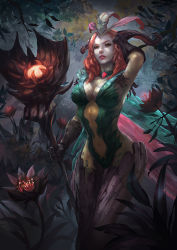 1girl alternate_costume alternate_hair_color breasts cglas cleavage emilia_leblanc feathers flower forest gauntlets gem head_feathers league_of_legends nature navel outdoors pale_skin parted_lips plant red_hair solo staff standing