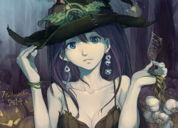 1girl 2014 bare_shoulders blue_eyes bone breasts brown_hair cleavage earrings fish_bone garlic halloween hat jack-o'-lantern jewelry large_breasts lips long_hair original pumpkin skull skull_earrings solo tennohi upper_body witch witch_hat