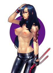 1girl absurdres black_hair blue_eyes blue_hair cigarette fengmo gloves gluteal_fold hand_on_head highres long_hair navel nipples skin_tight solo tattoo toned topless weapon wristband