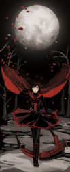 1girl boots cape forest lace-up_boots looking_at_viewer moon petals red_cape ruby_rose rwby scythe snow solo