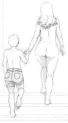 1boy 1girl age_difference ass barefoot belt bh2 breasts clothed_male_nude_female hand_holding large_breasts long_hair milf monochrome nude short_hair short_pants shorts simple_background stairs straight_shota tagme white_background