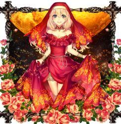 1girl artist_request blonde_hair breasts cross flower habit long_hair nun original solo