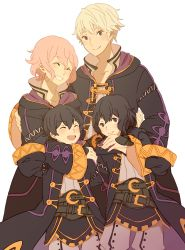 2boys 2girls ^_^ ai-wa black_hair brown_eyes dual_persona eyes_closed fire_emblem fire_emblem:_kakusei highres hooded_jacket hug mark_(fire_emblem) multiple_boys multiple_girls my_unit open_mouth pink_hair smile white_hair