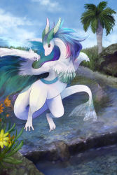 blue_hair blue_sky claws cloud dragon flower highres horns lake no_humans original palm_tree pixiv_fantasia pixiv_fantasia_5 rackety reflecting_pool sky solo tail tree wings
