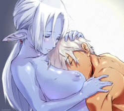 1boy 1girl aurastack blue_skin blush breast_smother breasts comforting couple cuddling dark_elf earrings elf eyes_closed hetero huge_breasts jewelry large_breasts lineage lineage_2 long_hair nipples nude pointy_ears ponytail short_hair silver_hair white_hair