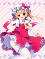 1girl animal_ears animal_hat ascot blonde_hair bow cat_ears cat_hat fang flandre_scarlet hat hat_bow highres long_hair looking_at_viewer miiiiiiii open_mouth puffy_sleeves red_eyes short_sleeves side_ponytail smile solo striped_background thighhighs touhou white_legwear wrist_cuffs