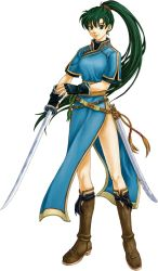 1girl fire_emblem fire_emblem:_rekka_no_ken green_eyes green_hair holding_sword holding_weapon long_hair looking_at_viewer lyndis_(fire_emblem) official_art ponytail simple_background smile solo very_long_hair white_background