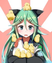 1girl alternate_costume animal bird chick chicken commentary_request green_eyes green_hair hair_ornament hair_ribbon hairclip highres japanese_clothes kantai_collection kimono lerche long_hair looking_at_viewer ribbon rooster sitting sitting_on_head sitting_on_person sweatdrop yamakaze_(kantai_collection) yukata