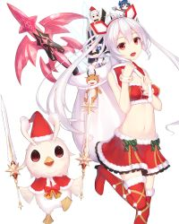 1girl :d ahoge bell blush boots breasts capelet christmas cowboy_shot dual_wielding frilled_skirt frills fur_trim hair_between_eyes hat headgear highres holding holding_sword holding_weapon innocent_cluster leg_up long_hair looking_at_viewer matoi_(pso2) munuu navel open_mouth phantasy_star phantasy_star_online_2 red_boots red_eyes red_skirt sack santa_costume santa_hat scrunchie skirt small_breasts smile stomach strapless sword teeth thigh_boots thighhighs tubetop twintails weapon white_hair wrist_scrunchie