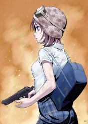 1girl bag blue_eyes breasts brown_hair camouflage_helmet chin_strap dirty_clothes goggles goggles_on_hat gun hamada_youho handgun helmet holding_gun holding_weapon looking_to_the_side original plaid plaid_skirt school_bag school_uniform shirt short_hair short_sleeves skirt solo weapon white_shirt
