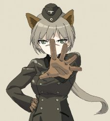 1girl animal_ears brown_background brown_gloves coat garrison_cap gloves green_eyes hand_on_hip hanna_rudel hat light_brown_hair long_hair long_sleeves military military_uniform nose_scar outstretched_arm ponytail scar shiratama_(hockey) simple_background solo strike_witches uniform wolf_ears