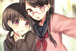 2girls black_hair brown_eyes brown_hair bust cardigan earrings frown glasses hand_to_own_mouth jewelry long_hair looking_at_viewer low_twintails midorikawa_you multiple_girls original pink_eyes red-framed_glasses school_uniform self_shot semi-rimless_glasses serafuku twintails under-rim_glasses