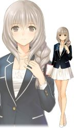 1girl blazer braid brown_eyes clipboard dress full_body hand_on_own_chest high_heels holding jacket jewelry long_hair necklace short_dress silver_hair simple_background single_braid smile standing tanaka_takayuki white_background