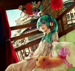 1girl bunny cat doll dress green_eyes green_hair hatsune_miku headphones open_mouth solo stuffed_animal stuffed_toy twintails vocaloid yuuji_(artist)