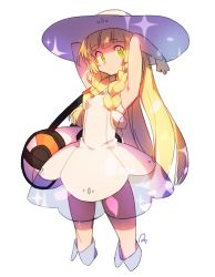 1girl anpolly armpits arms_up bag bare_arms blonde_hair braid dress duffel_bag eyebrows eyebrows_visible_through_hair green_eyes hat lillie_(pokemon) long_hair looking_at_viewer pokemon pokemon_(game) pokemon_sm sleeveless sleeveless_dress solo sun_hat twin_braids white_dress white_hat