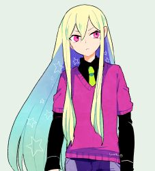 1boy afuro_terumi artist_name blonde_hair gradient_hair inazuma_eleven inazuma_eleven_(series) l_hakase long_hair lowres male necktie pink_eyes simple_background solo star sweater very_long_hair